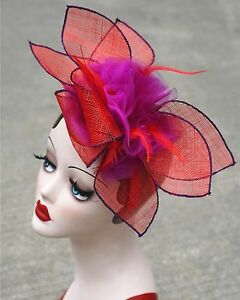Womens-Sinamay-Fascinator-Cocktail-Bridal-Hat-Wedding-Church-Kentucky-Derby-T228