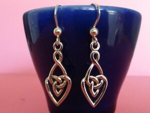 925-Sterling-Silver-Heart-Love-Infinity-Knot-Celtic-Dangle-Earrings-Jewelry-NEW