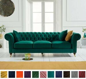 New Chesterfield Sofa Pine Green Linen
