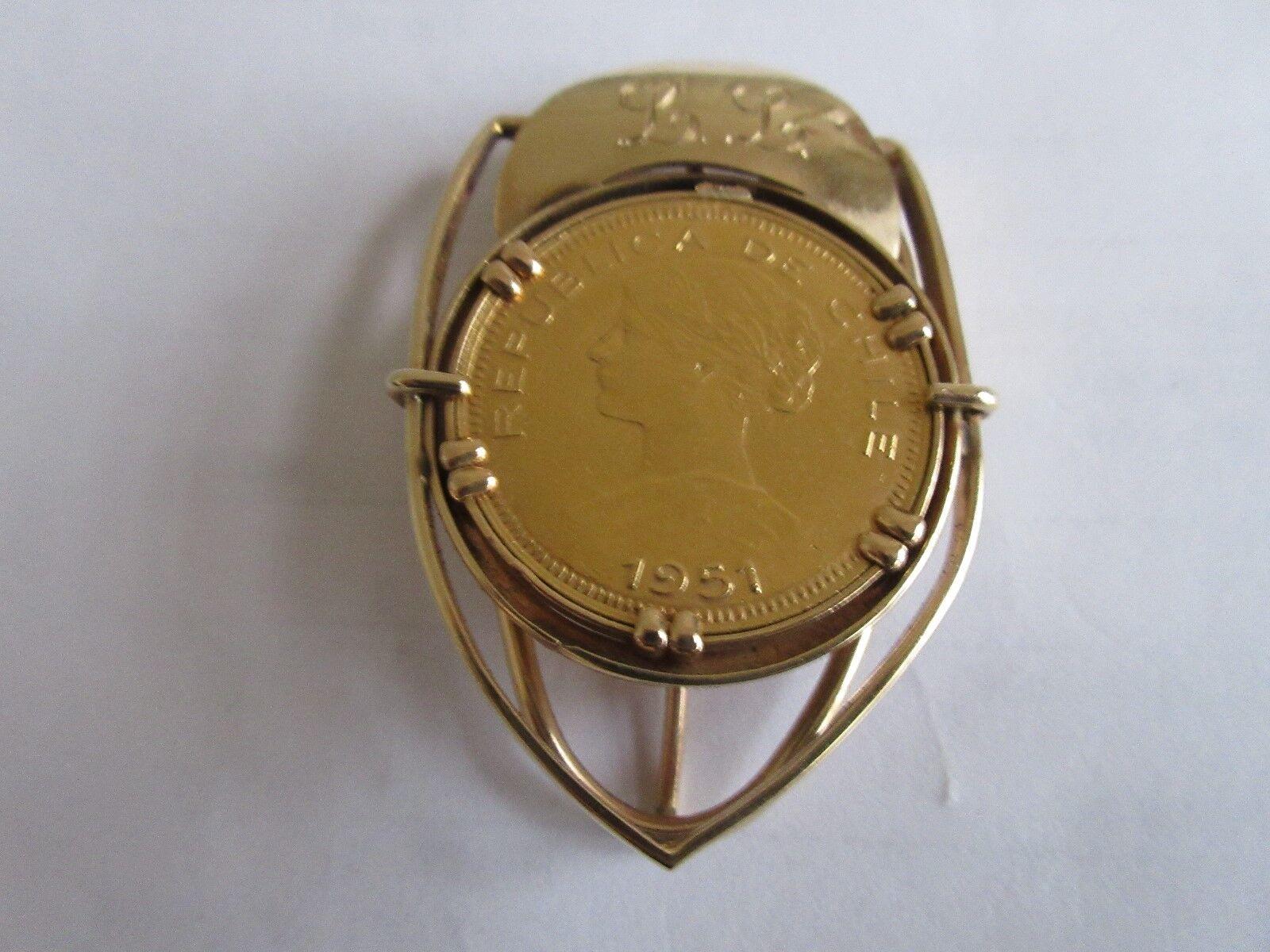 1951 , Chile , 100 Pesos Gold , Money Clip , Rare / Vin