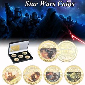 5pcs-Star-Wars-Gold-Collection-Coin-Darth-Vader-Han-Solo-Yoda-Kylo-Ren-With-Box