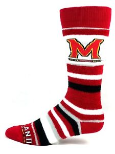 Maryland-Terrapins-NCAA-Fuzzy-Crew-Socks-Red-Black-White-and-Gray