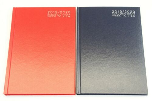 2019-2020 A5 OR A4 /'WEEK TO VIEW/' ACADEMIC 12 MONTH STUDENT HARDBACK DIARY.