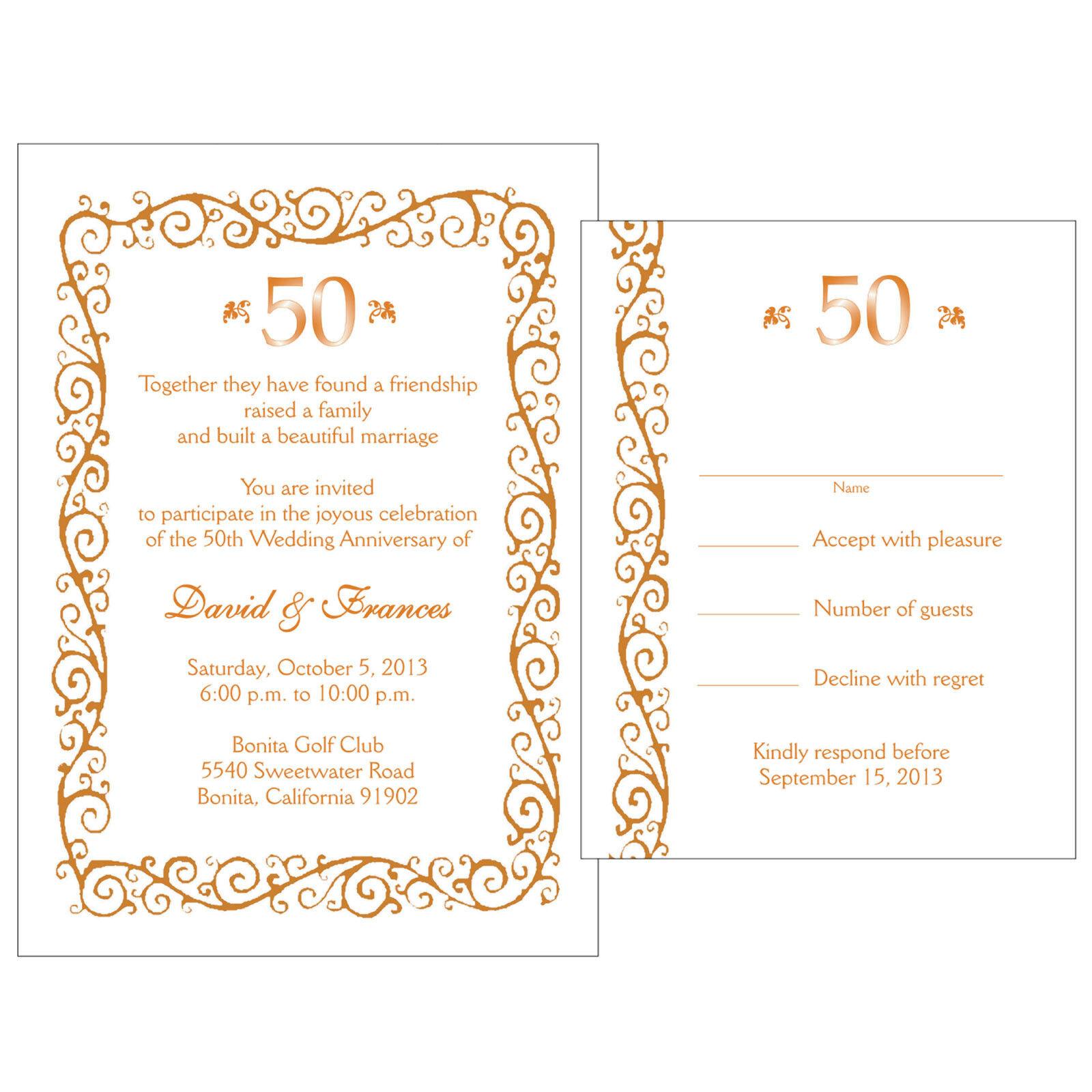 25 Personalized 50th Golden Anniversary Invitations W