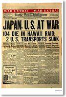 Japan U.s At War Headline Pearl Harbor - Vintage Historic Newspaper Poster