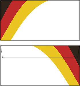 20 Briefumschläge Motiv Deutschland Fahne Germany DIN lang schwarz rot gelb gold