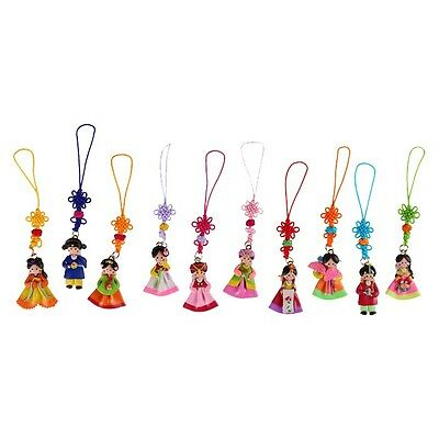 10 PCS Korean Traditional Costume Doll Mobile Strap Hanbok Adorable Wedding Gift