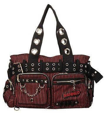 BANNED STRIPED SHOULDER BAG Handcuff Canvas Handbag Gothic Rock Black RED