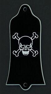 GUITAR TRUSS ROD COVER - Custom Engraved - Fits GIBSON USA - SKULL BONES - Black