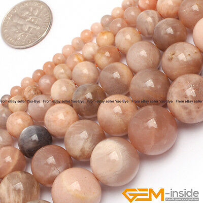 "Natural Sunstone Gemstone Round Beads For Jewelry Making Strand 15"" 6mm 8mm 10mm"