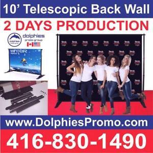 10 x 8ft Telescopic Back Wall Trade Show Wedding Event Back Wall Backdrop Step-n-Repeat Display Stand Canada Preview