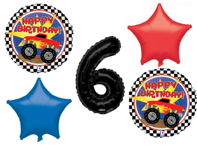 Monster Truck Balloon Bouquet 6th Birthday Party Supplies Decorations Balloons