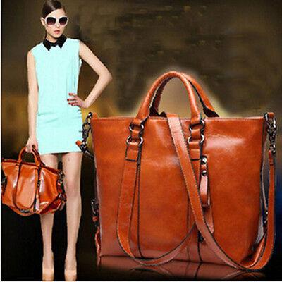 Women's Faux Oil Leather Handbag Hobo Tote Shoulder Satchel Laptop Messenger Bag