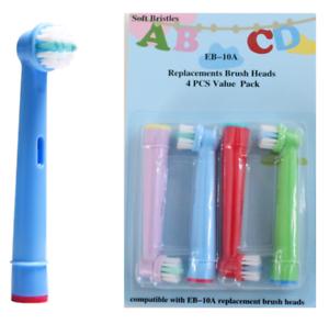 4x-Oral-b-kompatible-Kinder-Aufsteckbuersten-Ersatzbuersten-in-bunten-Farben-Neu