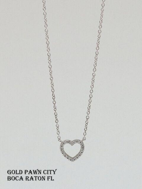 Tiffany Co Metro 18k White Gold Full Diamond Small Heart