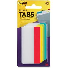 Post It Tabs Durable File Tabs 3 X 1 12 Solid Assorted Primary Colors 24pack