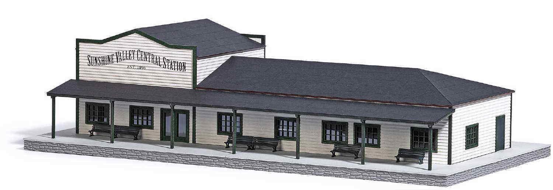 Busch 9721 stazione ferroviaria Sunshine Valley Central Station in vero legno Nuovo/Scatola Originale