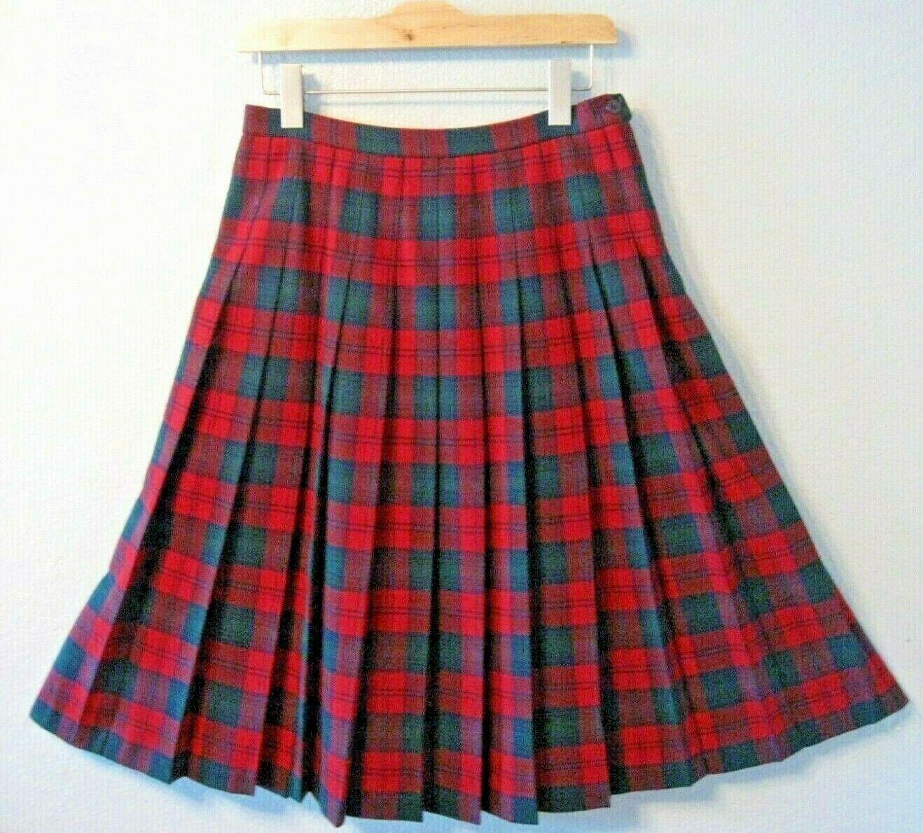 Pendleton Petite Skirt Size 12 Petite Wool Red Green bluee Plaid Pleated H
