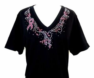 Rhinestone Breast Pink Awareness Hand Embellished Top Medium Iridescent Cancer qgRSHT