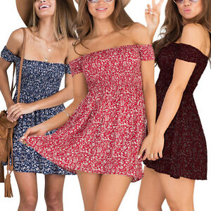 Womens-Floral-Print-Off-Shoulder-Short-Mini-Dress-Summer-Beach-Holiday-Sundress