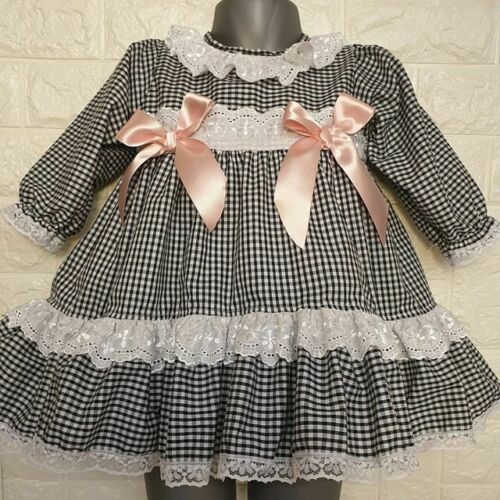 DREAM SALE S BABY  GIRLS PUFFBALL BLACK GINGHAM PINK DRESS  OR REBORN DOLLS