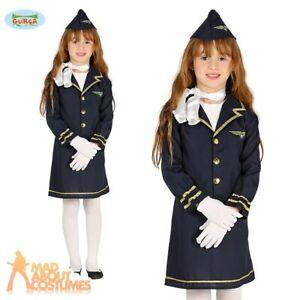 a647961510b Details about Kids Girls Stewardess Costume Air Hostess Cabin Crew Uniform  Child Fancy Dress