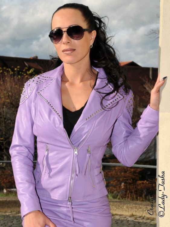 Chaqueta de cuero de  cuero chaqueta Hell púrpura Biker-style tachuelas tamaño 32 - 58 XS-XXXL  n ° 1 en línea