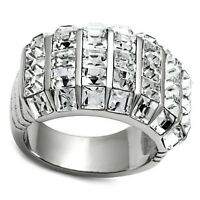 Seven Row Square Crystal Pave Silver Stainless Steel Ladies Ring