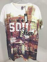 Soul Star Men's Graffiti Print Short Sleeve T Shirt White/multi Medium