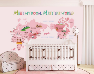 3D Pink World Map 77 Wall Paper Murals Wall Print Wall Wallpaper Mural AU Kyra