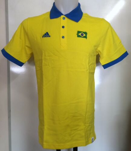 BRAZIL WORLD CUP 2014 S/S  POLO SHIRT BY ADIDAS SIZE MEN'S MEDIUM BRAND NEW