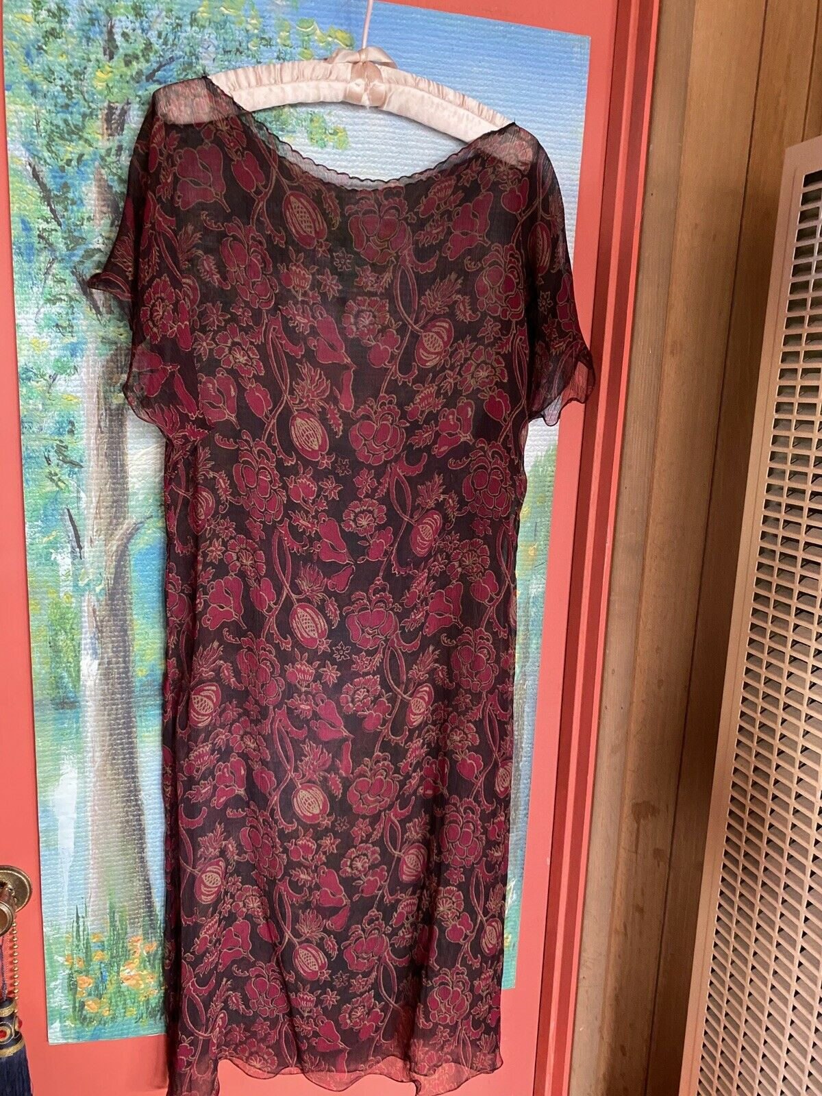 '1920's look sheer dress roses and buds and leaves