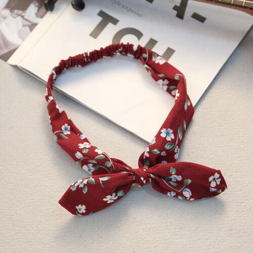 Women Elastic Floral Print Headband Bowknot Hairband Retro Bandana Head Wrap UK