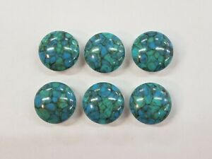 Eye-Catching-Silver-Tone-Blue-Speckled-Set-of-6-Button-Covers-Jewelry