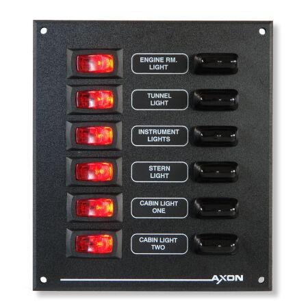 Axon Marine Illuminated Mini-Switch / Fuse Panel, 6 Way, 12 or 24V DC