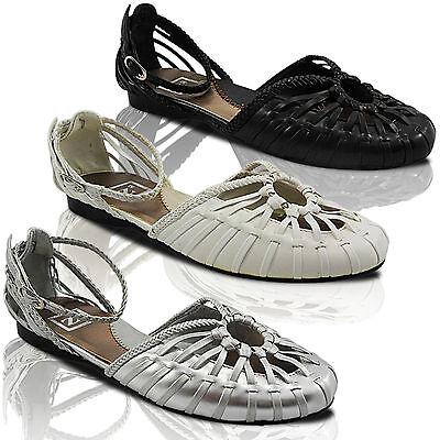 Nuevo Para Mujer Damas Tacón Bajo Plano correa de tobillo Gladiador Verano Sandalias Zapatos Talla