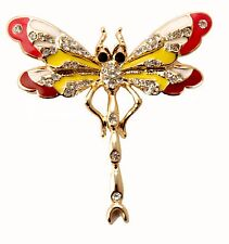 ConMiGo BB00140 elegant pink/red, white and yellow enamelled dragon fly brooch