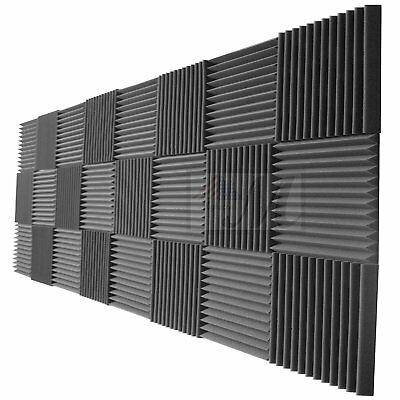 Focusound 24 Packs Acoustic Foam Panels Wedge 2 X 12 X 12 Soundproofing Foam Noise Cancelling Foam with Double-Side Tape