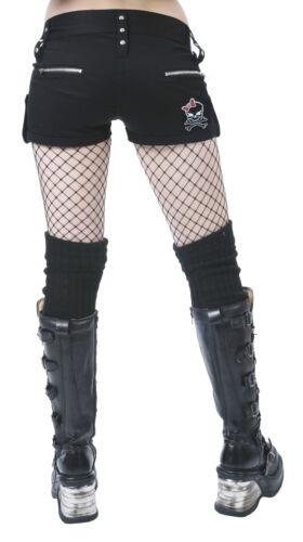 NUOVO Donna Dead Threads Corto Nero Cotone Punk Emo Rock