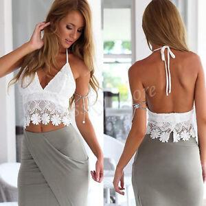 ff5457a1c9 Women Knitted Crochet Lace Tank Tops Halter Crop Tops Beach Shirt ...