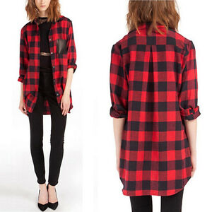 Free-P-amp-P-Womens-Boyfriend-Style-Scottish-Plaid-Check-Shirt-Top-Loose-Long-Coat