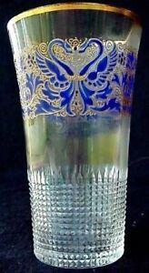 Antiguedad-Europeo-Cristal-Vaso-Tallado-Esmalte-Gryphons-Extrafino-1085