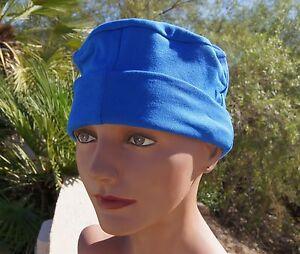 683743d17 Details about ADULT 100% Cotton BLUE sleeping night Cap mens women UNISEX  nightcap hat simple