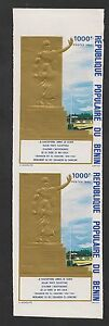 Benin-448A-VF-MNH-IMPERF-PAIR-1980-1000fr-Monument-Gold-Embossed