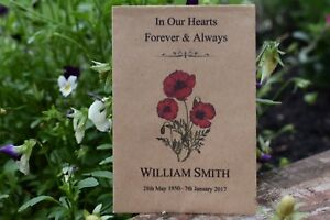 Image Is Loading 25 Funeral Favours Personalised Seed Packets Memorial Remembrance