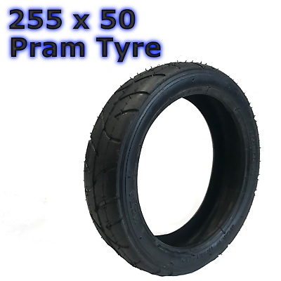 1 X Black Pram Tyre 255 X 50 Pushchair Stroller Scooter