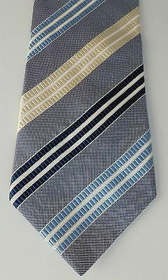 M&S Collezione silk tie Marks & Spencer striped blue cream mens neat office wear