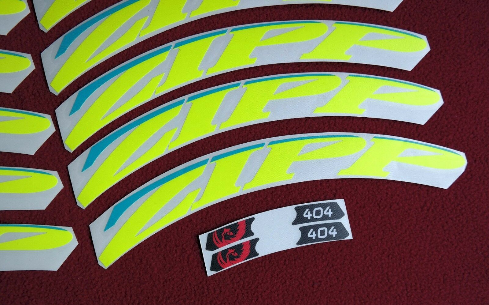 ZIPP  404  2015 FLUORYELLOW & GIANT blueE  REPLACEMENT RIM DECAL SET FOR 2 RIMS  welcome to choose