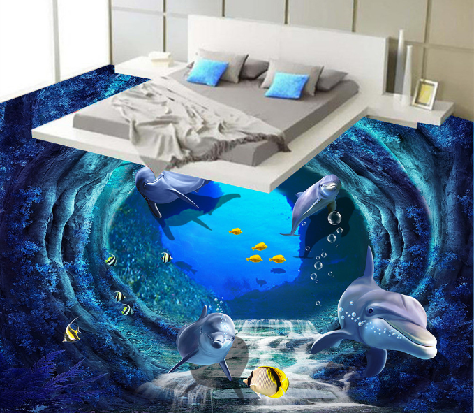 3D Deep Sea Dolphins 77 Floor WallPaper Murals Wall Print Decal AJ WALLPAPER US