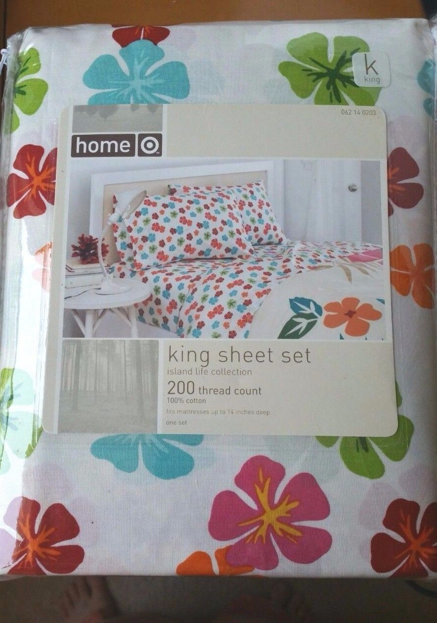 Target Home KING Sheet Set 100% Cotton ISLAND LIFE Tropical 200 Threads NEW